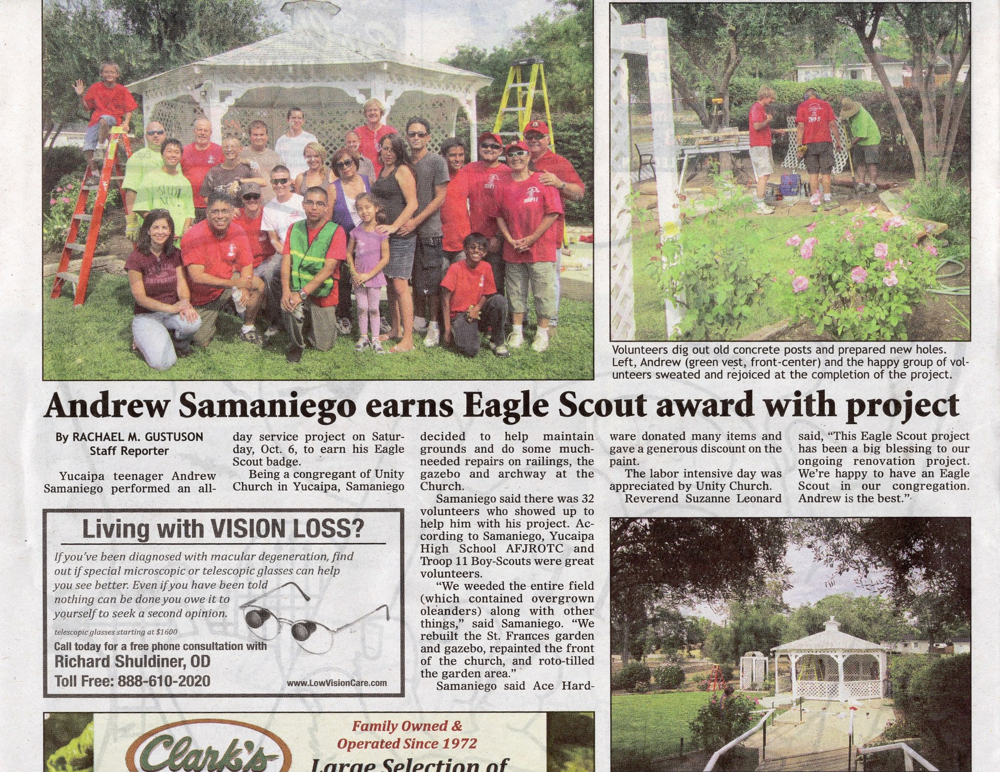 Samaniego Completed Eagle Project to Earn is Eagle Award.