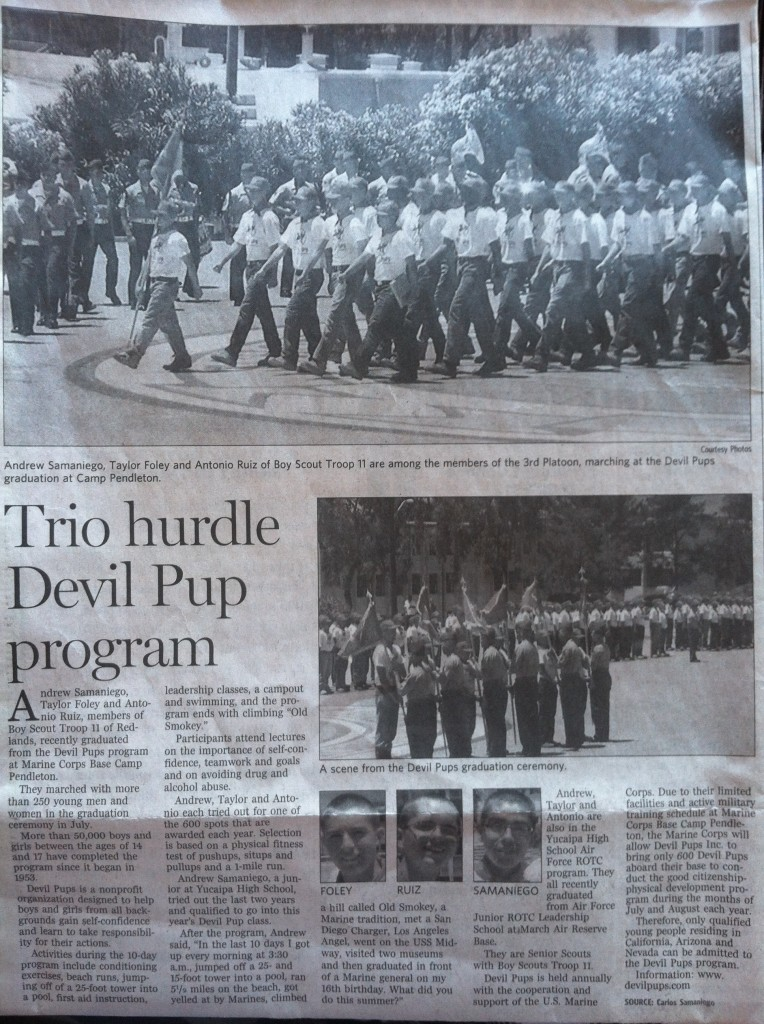 Redlands Daily Facts covers  our Devil Pup Experience with Andrew Samaniego, Taylor Foley, and Antonio Ruiz
