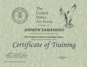 Completed the Air Force JROTC Summer Leadership School