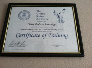 Samaniego Completed Air Force SLS Leadership Camp