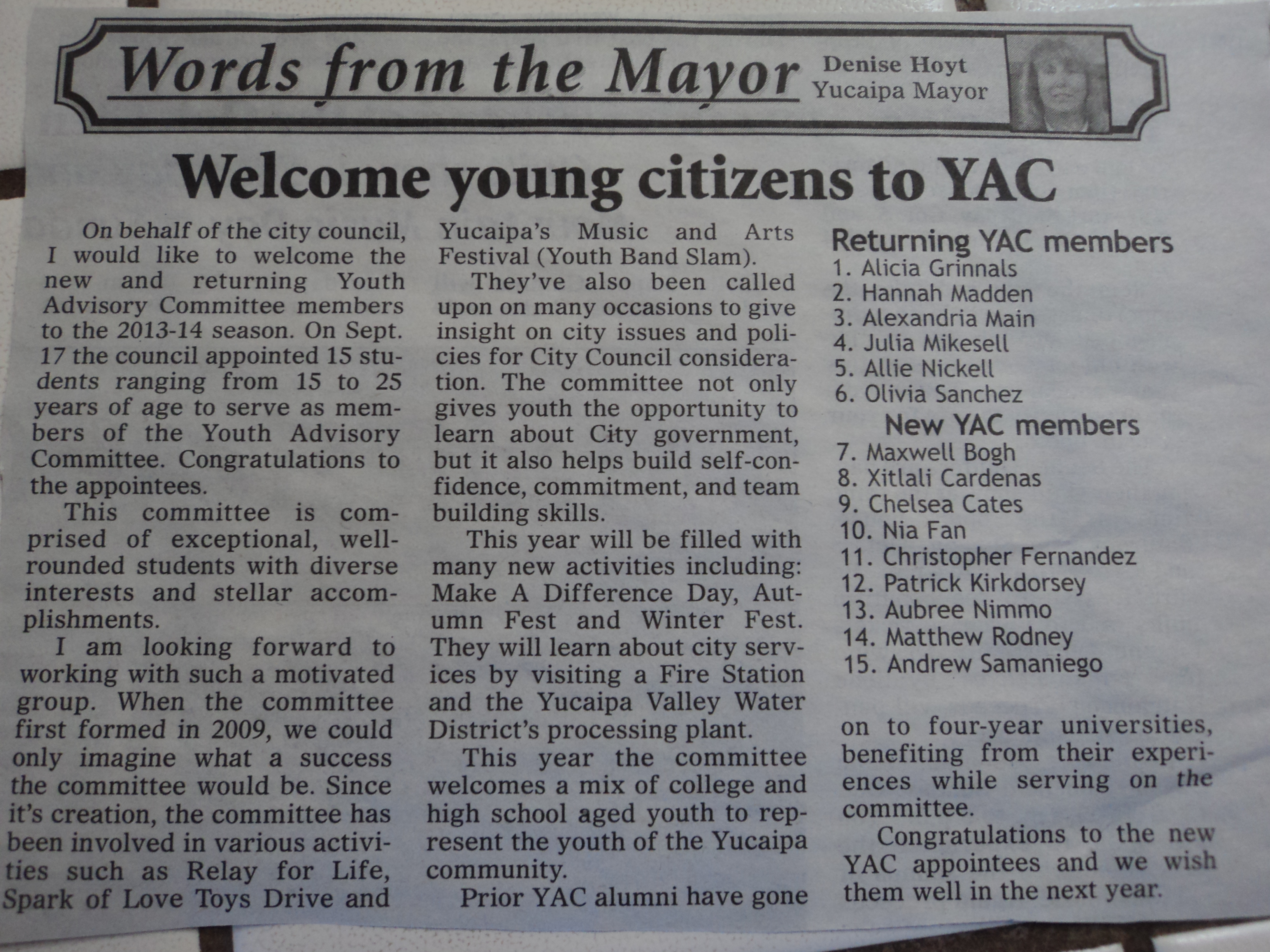 Yucaipa News Mirror - Youth Advisory Committee