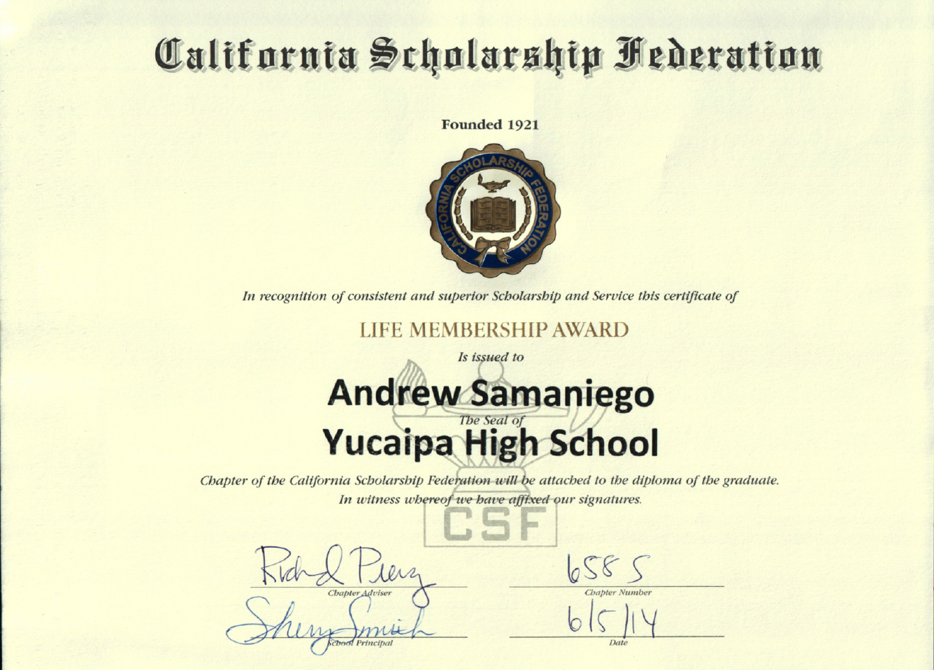 Academic Honors from Yucaipa HIgh School