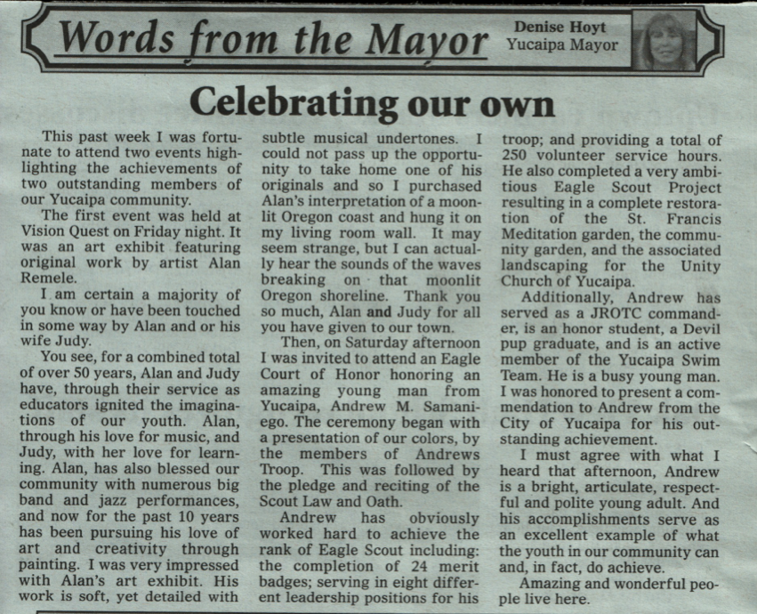 Yucaipa Mayor Praises Samaniego
