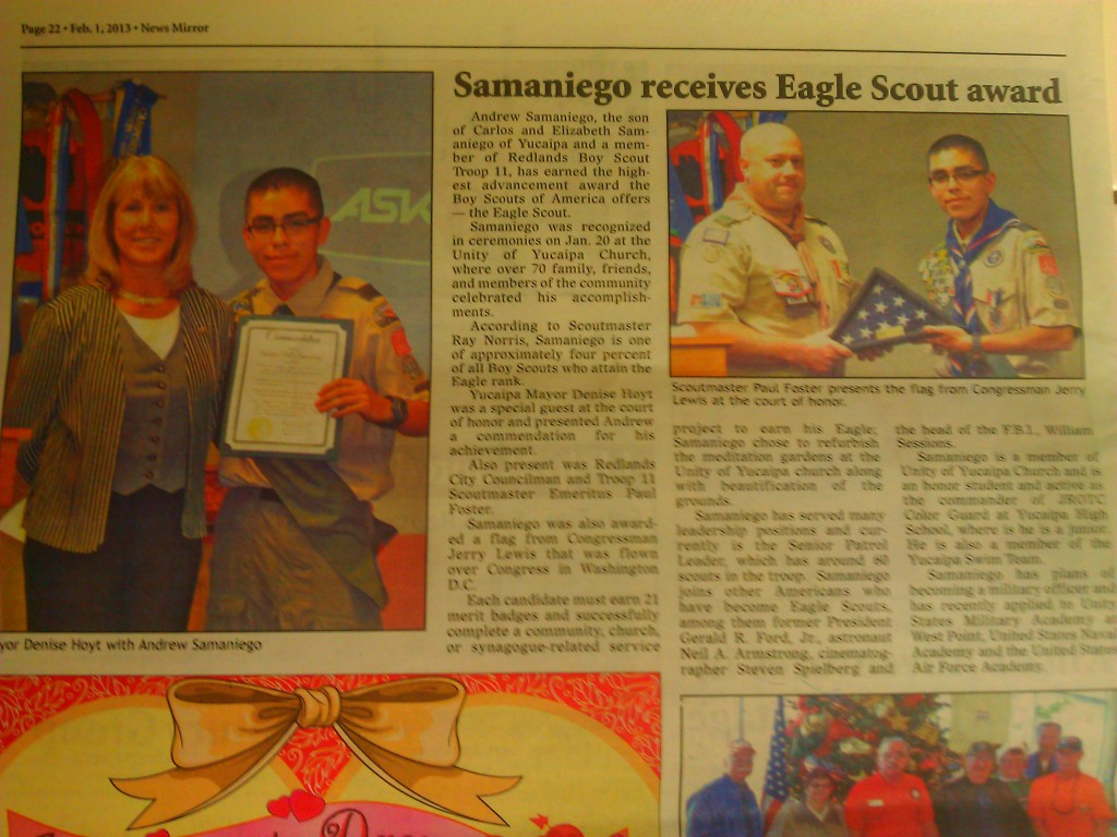 Andrew Samaniego Receives Award from Mayor of Yucaipa at Eagle Court of Honor.