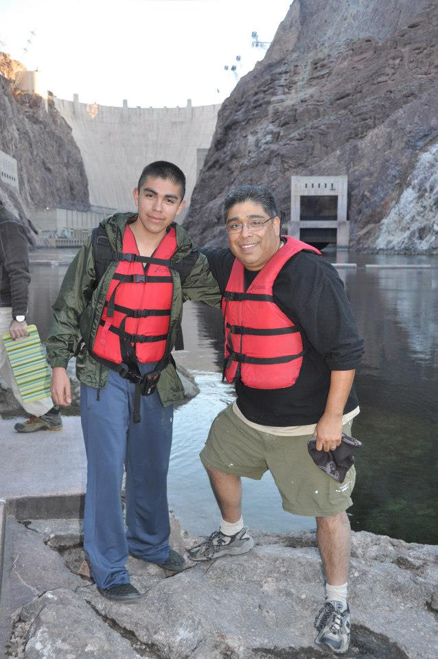 Dad and I at Hoover Dam ready to canoe 25 miles over next 3 days.