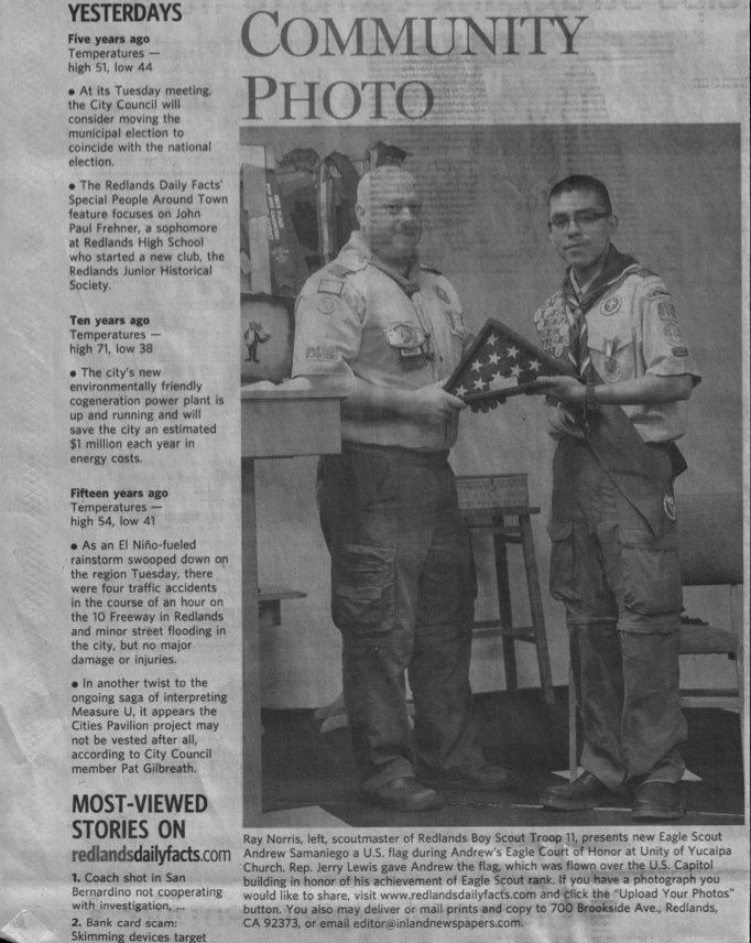 Troop 11 Redlands Scoutmaster Ray Norris and Eagle Scout Samaniego