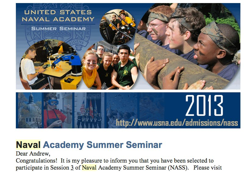 Andrew Samaniego is selected to attend Naval Academy Summer Seminar in June 2013