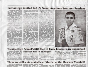 Andrew Samaniego Invited to Naval Academy Summer Seminar