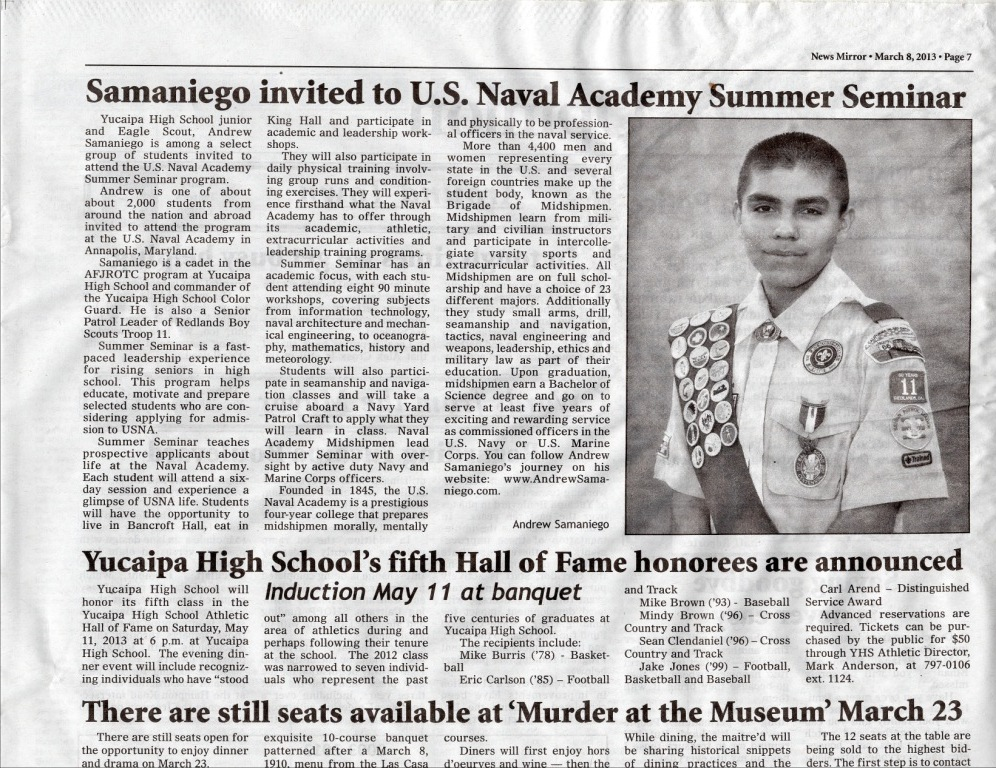 Andrew Samaniego Invited to Naval Academy Summer Seminar