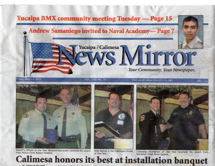 Andrew Samaniego front cover of News Mirror