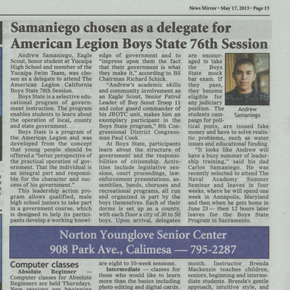 Samaniego chosen as delegate for American Legion Boys State.