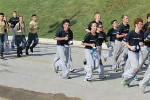 Samaniego running in formation with Echo Company during Sea Trails at The Naval Academy