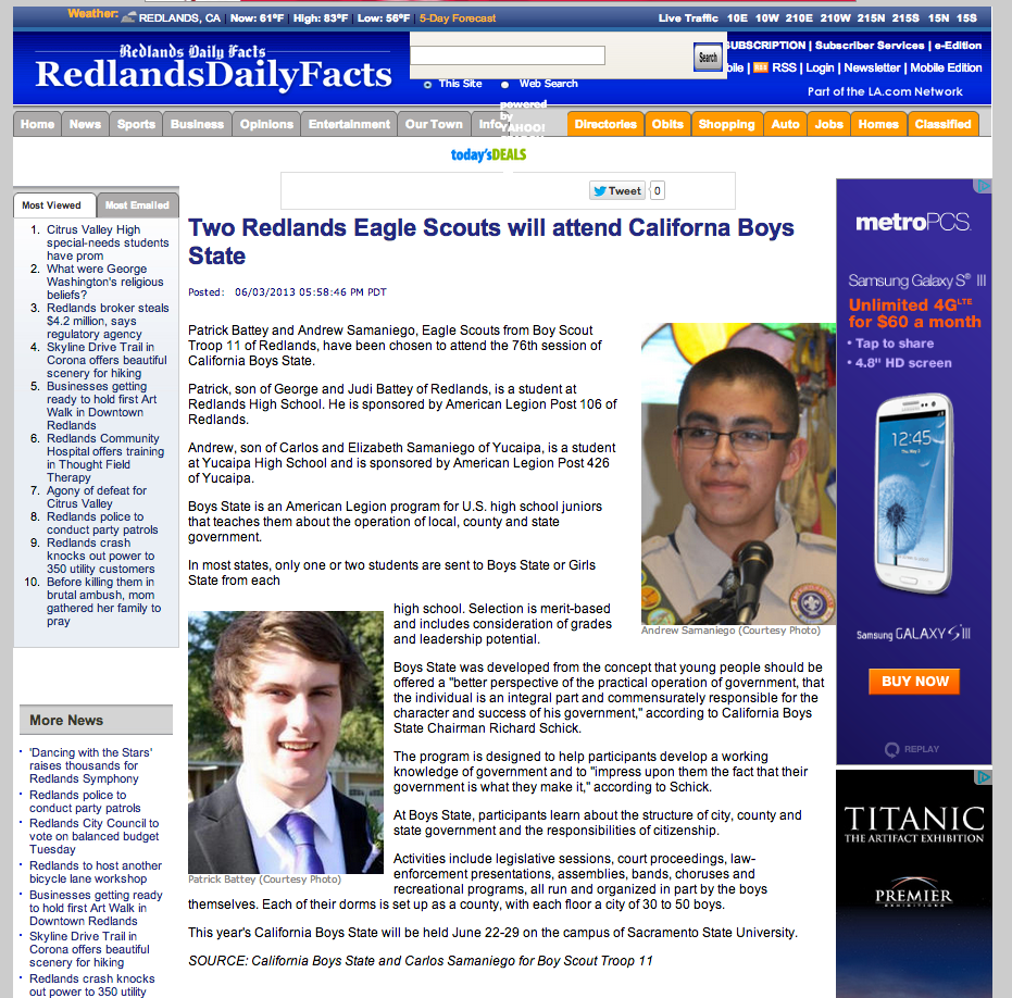 Redlands Daily Facts Online Article - Andrew and Patrick selected to Boys State Program
