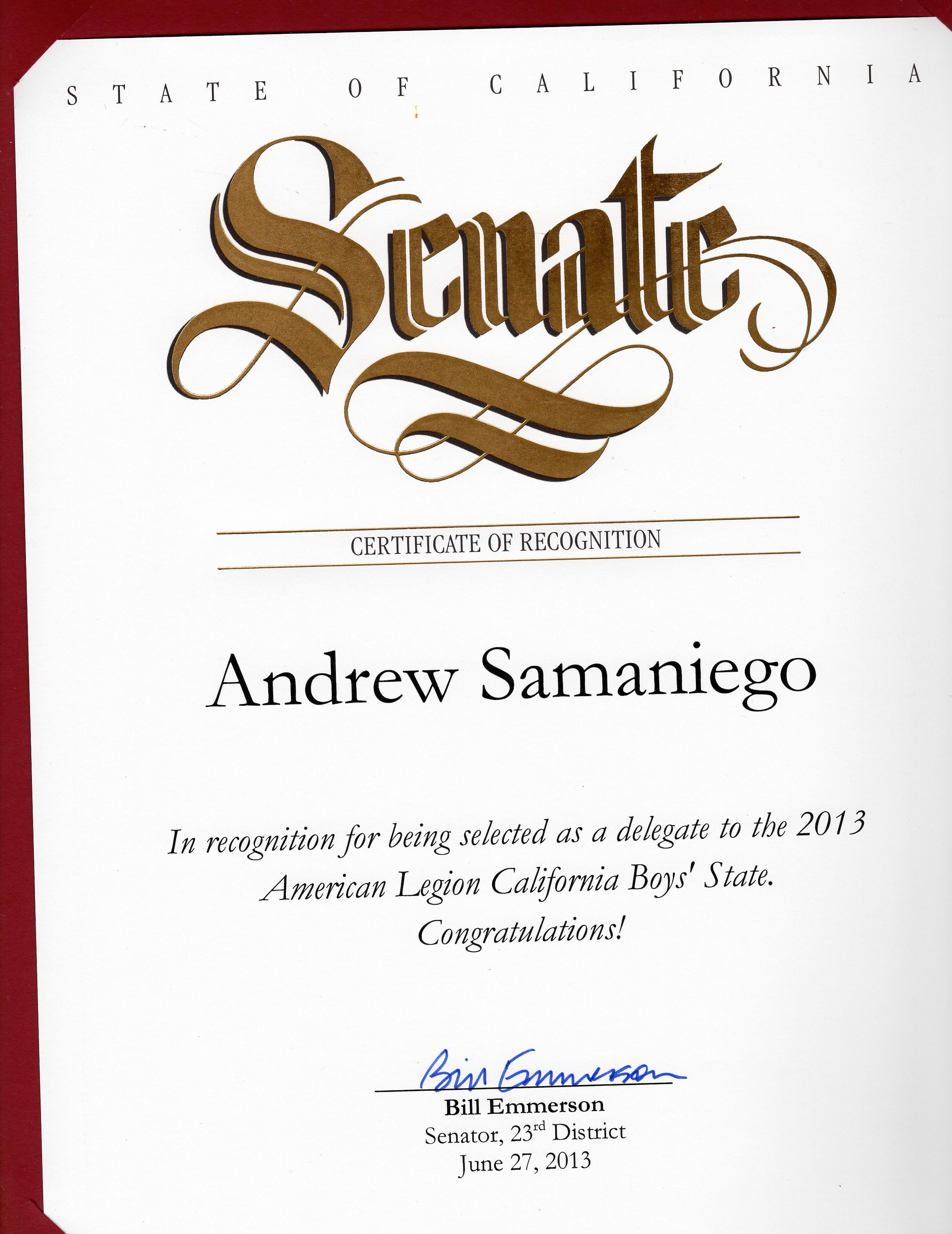 I got to meet my California Senator Emerson