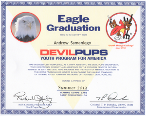 My certificate for completing the Devil Pup Eagle Program