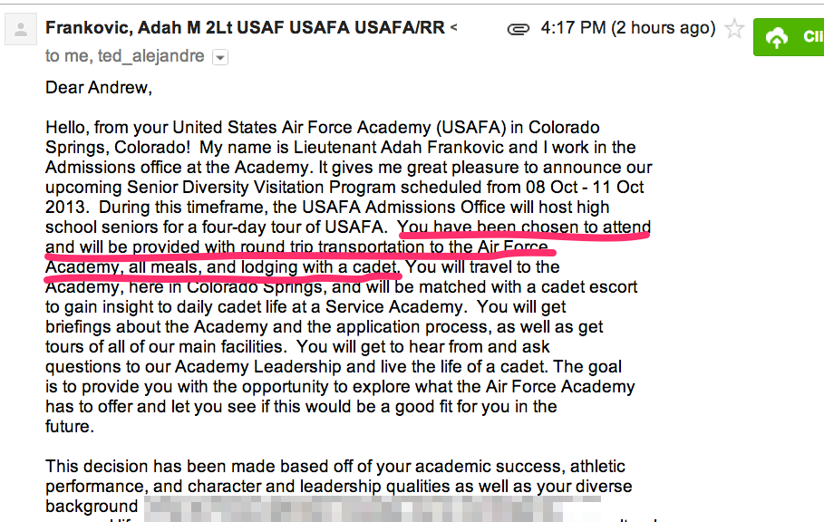 This email tells me all expense are paid to visit Air Force Academy.