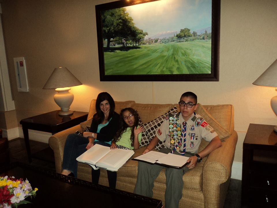 Andrew prepping for his speech, while family wait in the lobby at Redlands Country Club.