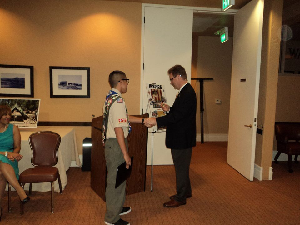 Recieving award from Scout Executive