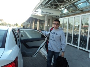 Arriving Ontario Airport to leave for the Naval Academy.