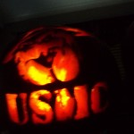 Andrew carved the complicated USMC pumpkin