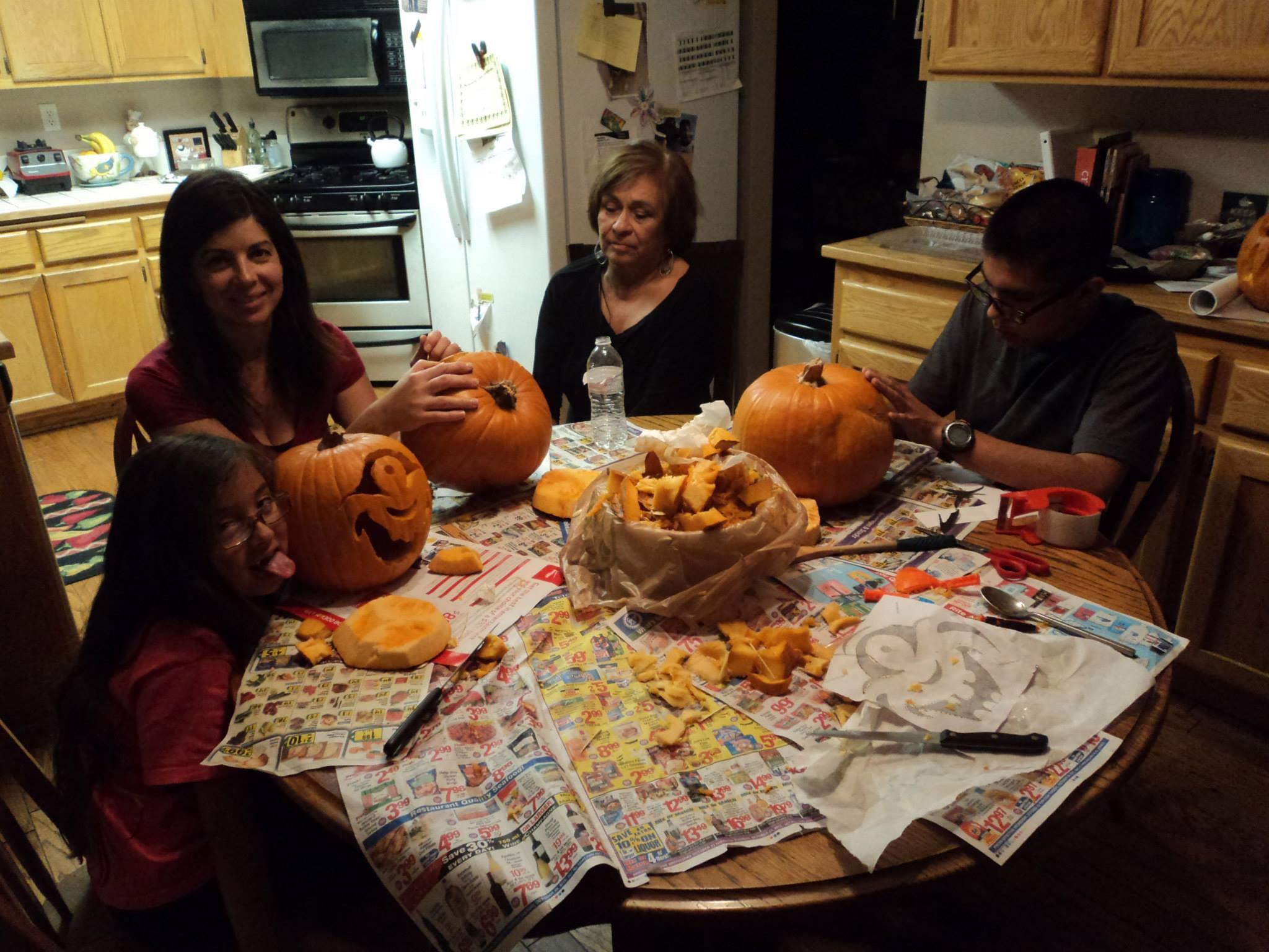 Samaniego pumpkin carving mess