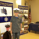 Samaniego wearing Midshipman Hat at Service Academy Night