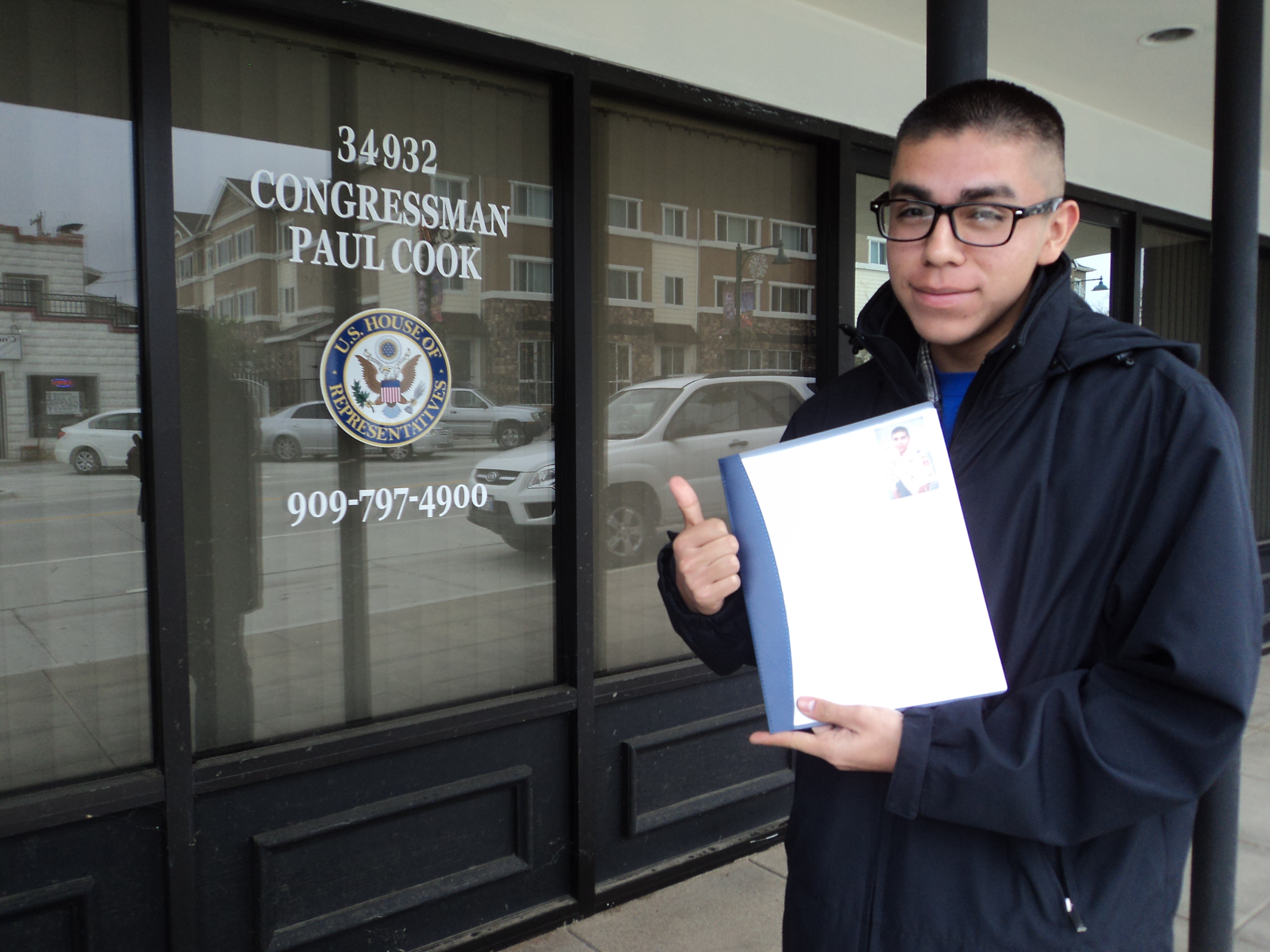 Dropping off nomination at Congressman Cooks office in Yucaipa.