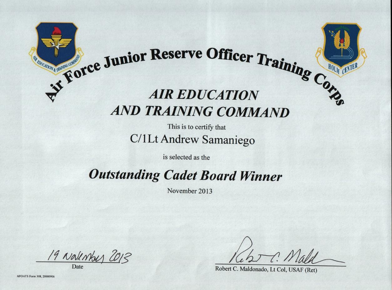Outstanding Cadet Board Winner