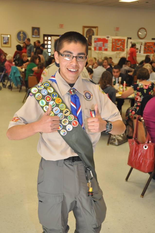 Andrew at Troop 11 Superbowl Pancake Breakfast