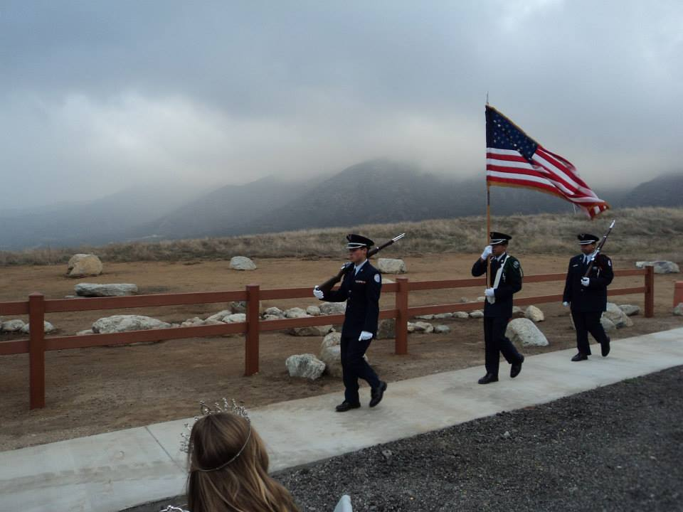 Andrew leads Yucaipa ROTC Color Guard during Opening Ceremony of El Dorado Park