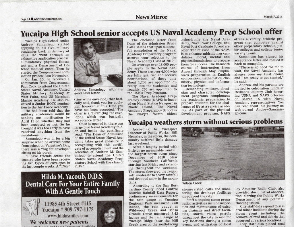 Yucaipa High School Senior Accepts US Naval Academy Prep School Offer