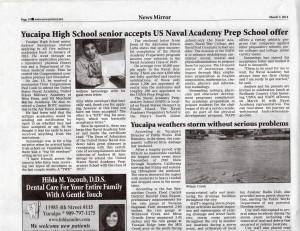 Yucaipa High School Senior Accepts US Naval Academy Prep School Offer