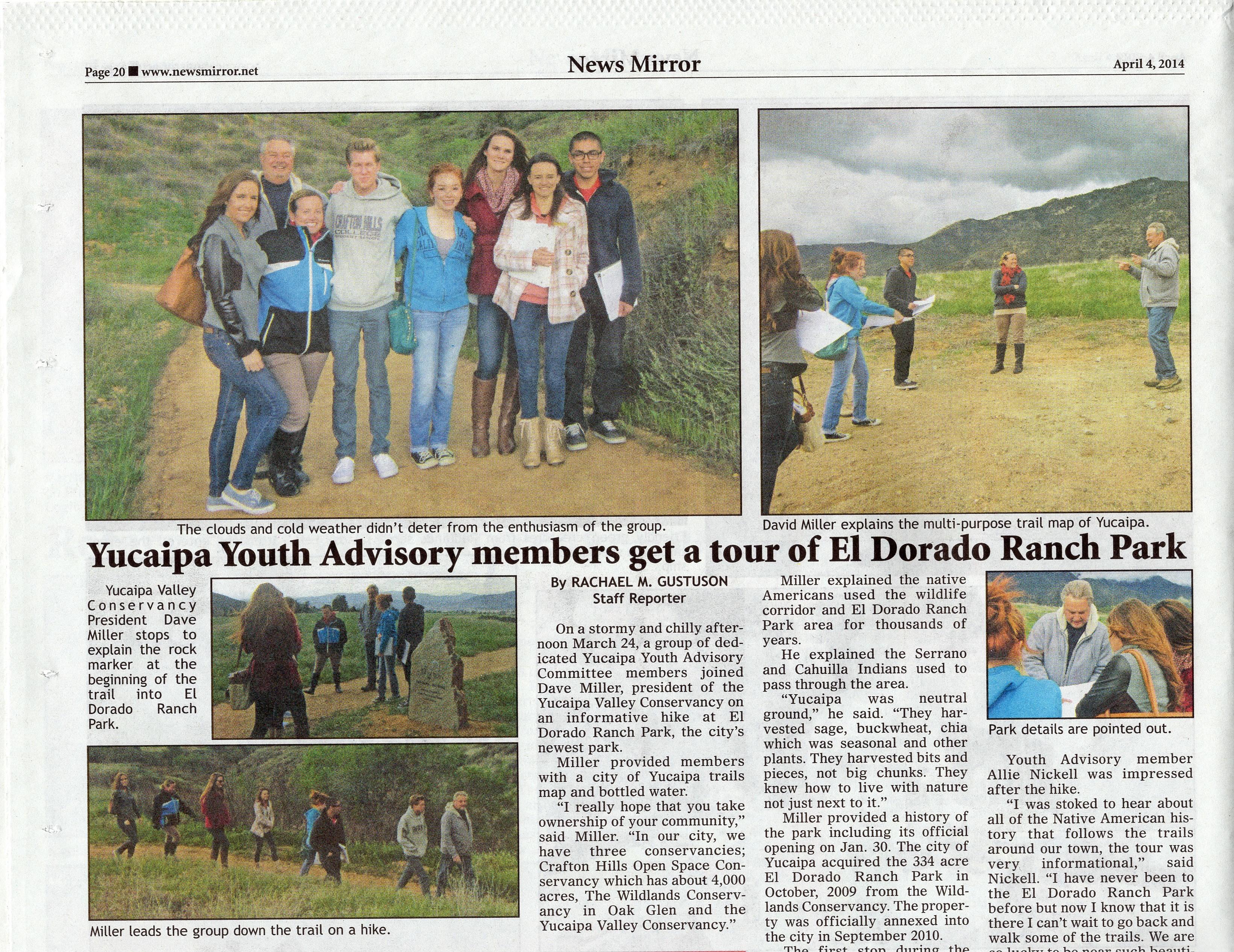Yucaipa Youth Commission Visits El Dorado Park